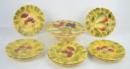 A group of French majolica plates.