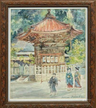 Watercolor, Japanese Pagoda