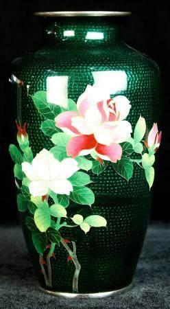 Japanese silver mounted cloisonne vase