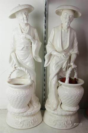 (lot of 2) Blanc de chine figural scuptures of Chinese laborers