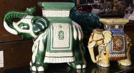 (lot of 2) Chinese elephant form garden stools
