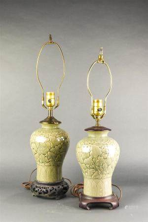 Pair Chinese celadon meiping form vases