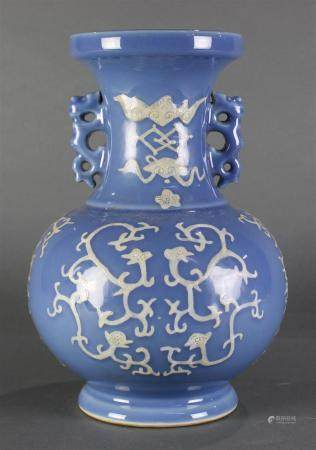 Chinese Clair de Lune ground double vase