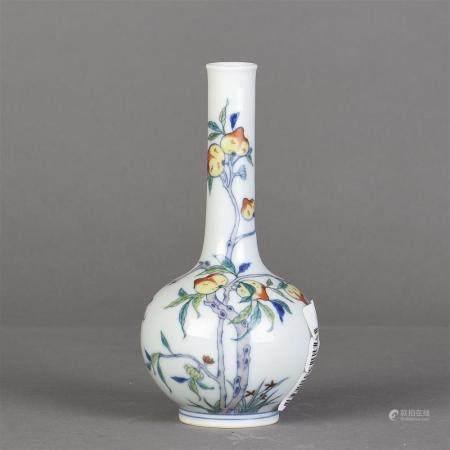 Long-neck Chinese Famille Rose porcelain vase