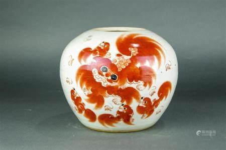 Chinese white ground porcelain ginger jar