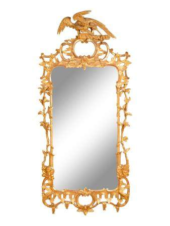An Early Victorian Giltwood Mirror Height 66 1/2 x width 29 1/2 inches.