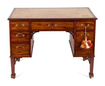 A George III Mahogany Writing Desk Height 30 1/4 x width 40 x depth 24 inches.