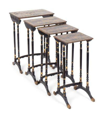 A Nest of Four Chinese Export Gilt-Decorated Black Lacquer Tables Largest, height 28 1/2 x width 19 1/2 x depth 12 inches.