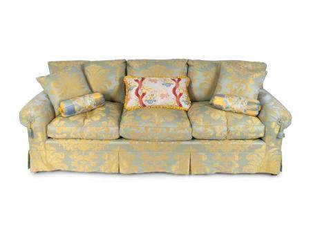 An Upholstered Three Cushion Sofa in Aqua and Gold Silk Damask Height 33 x width 91 inches.