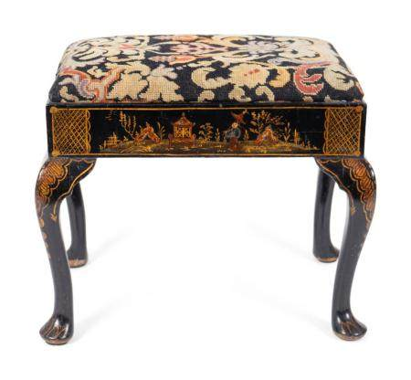 A George II Style Black Japanned Stool Height 19 x length 22 x depth 17 inches.