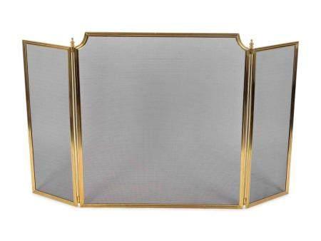 A Brass Three-Fold Firescreen Height 37 inches.