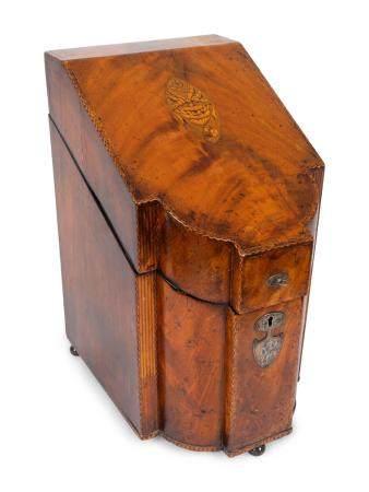 A George III Inlaid Mahogany Knife Box Height 15 1/4 inches.