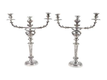 A Pair of Sheffield Plated Three-Light Candelabra Height 23 1/2 inches.