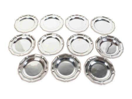 Eleven English Silver Georgian Style Dinner Plates Diameter 9 3/4 inches.