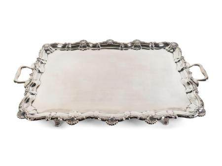 An English Silver Two-Handle Serving Tray Length over handles, 33 5/8 x depth 19 inches.