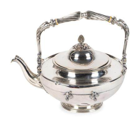 A Christofle Silver Plate Kettle Height 10 inches.