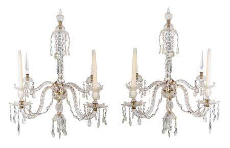 A Pair of Louis XV Style Cased and Faceted Glass Two-Light Sconces Height 34 x width 17 inches.