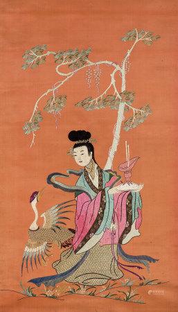 清 刺繡美女仙鶴