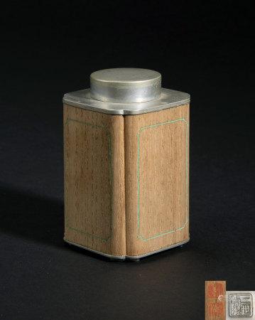 二世壽水造木嵌錫茶罐