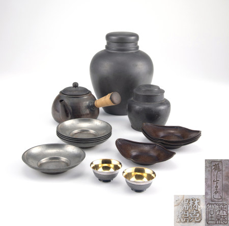 英純堂造桃山古色急須、槌木銀盞等茶具一組