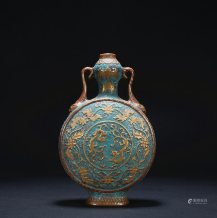 A blue glazed bottle painting in gold