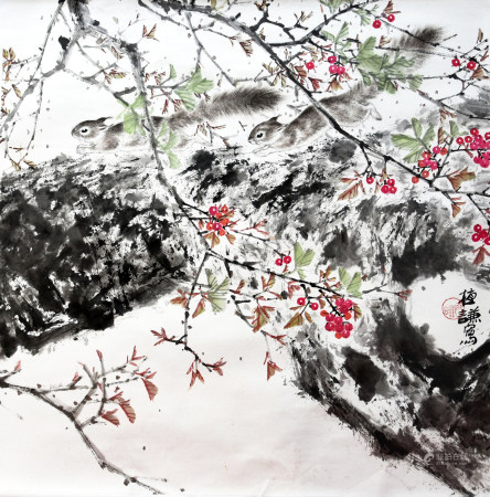 高植謙|櫻桃和松鼠 年代不詳
