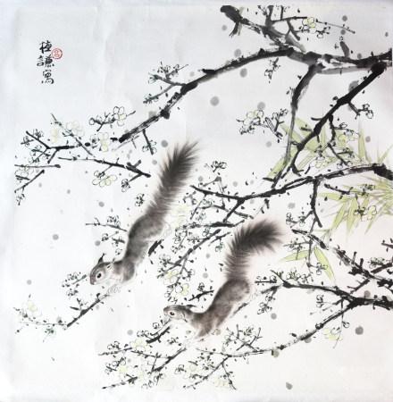 高植謙|梅花和松鼠 年代不詳