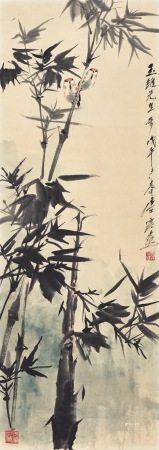 唐雲 竹雀圖 1978年