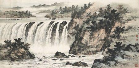黃君璧 嚴屏飛瀑 1974年