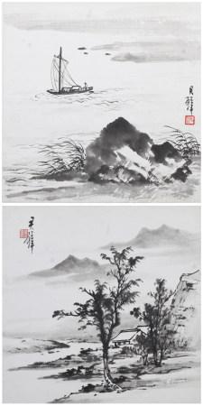 黃君璧 山水二幀 年代不詳