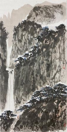 傅抱石 山水 1964年