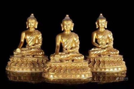 铜鎏金三世佛坐像一组