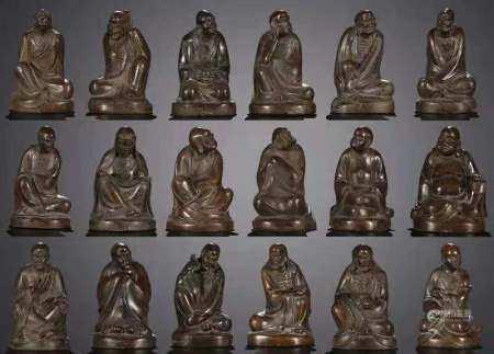 铜胎十八罗汉坐像
