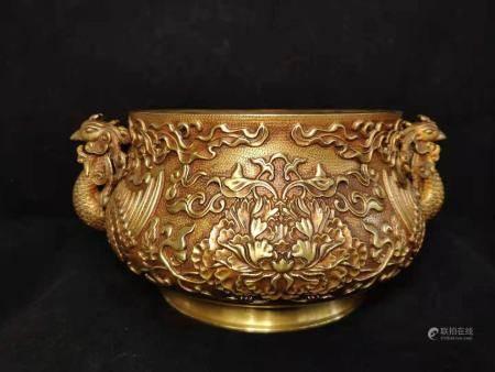 铜鎏金双凤炉