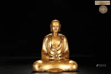 精铸铜胎鎏金地藏王坐像 高32cm