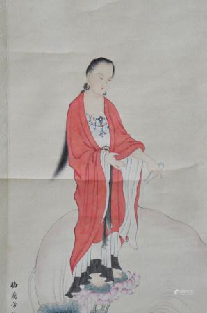 近现代 梅兰芳 心经观音(文物商店旧藏,带火漆)