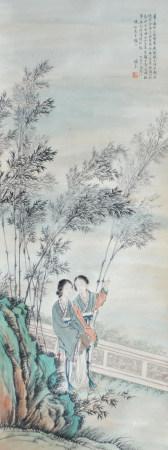 近现代 潘素 人物(文物商店旧藏,带火漆 )