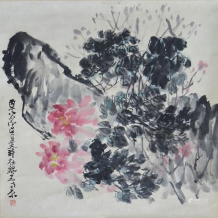 近现代 石壶 花卉(文物商店旧藏,带火漆 )