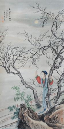 近现代 李惠仙 玉人和月折梅花(文物商店旧藏,带火漆 )
