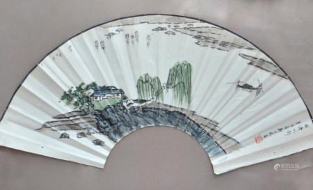 现代 郑乃珖 湖边帆影
