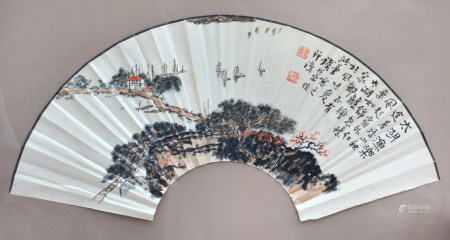 近现代 钱松喦 太湖渔禾
