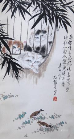 当代 孙菊生 猫戏图