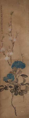 清代 张熊 绣球花