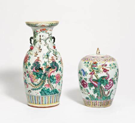 Vase und Deckeltopf mit Phönixpaar