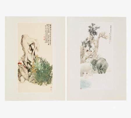 Dreizehn Holzschnitte nach Qi Baishi und weiteren Künstlern