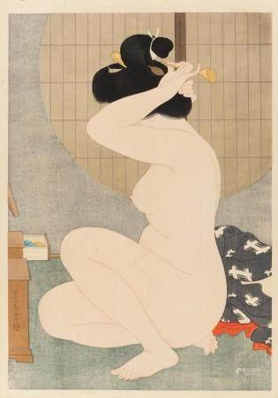 HAKUHO, HIRANO 1879 - 1957 Holzschnitt Beim Haare richten