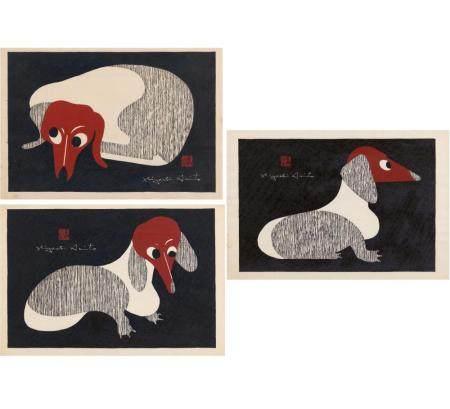 KIYOSHI, SAITÔ 1907 - 1997 Drei gerahmte Holzschnitte mit Dackeln