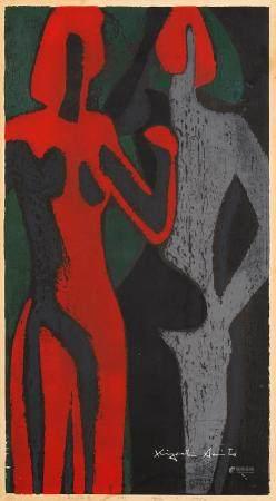 KIYOSHI, SAITÔ 1907 - 1997 Holzschnitt Zwei Figuren