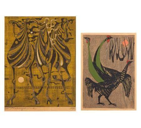 NAKAYAMA, TADASHI 1912 - 1964 Holzschnitt Drei Pferde