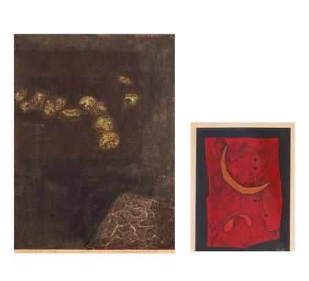 Zwei abstrakte Holzschnitte